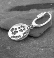 Extra large double or triple print charm with sterling silver keyring